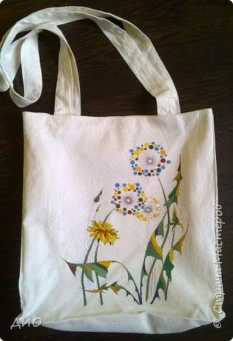 Рисунок на сумке акриловыми красками. фото 1