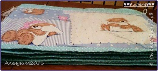 Бортики в кроватку . Так как ткани с мишутками был всего 1 метр , пришлось комбинировать ткани. В результате получились бортики такого плана :  фото 7