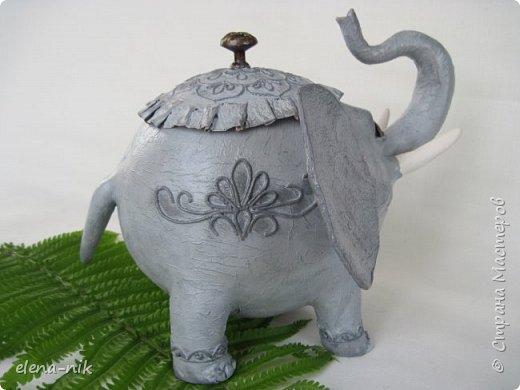 Улыбка красит лицо человека, но и... слона. Принимайте мою новую работу - слон-конфетница. Или слон-копилка. фото 5