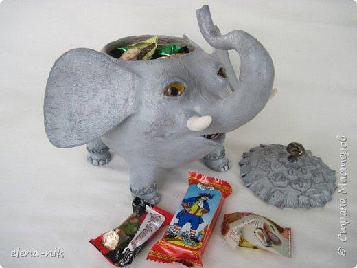 Улыбка красит лицо человека, но и... слона. Принимайте мою новую работу - слон-конфетница. Или слон-копилка. фото 10