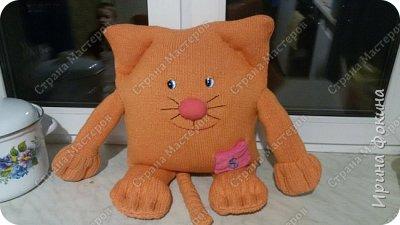 У меня ребенок очень любит котиков. Решила ему сшить кота из свитера и старой подушки. Назвали Апельсинчик. фото 1