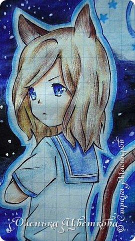 """Всем добрый вечер! Итак, я участвую в конкурсе """"Мой маленький космос"""" (https://stranamasterov.ru/node/1022127). Космос - звучит холодно и резко. Не люблю я почему-то смотреть на планеты, точнее на рисунки галактики. Я всегда очень любила и очень люблю смотреть на звезды. Они такие далекие и в то же время такие близкие, кажется, что можно рукой достать. И рисовать их я тоже люблю. Самые мои любимые фоны в рисунках - звездное небо, ночное море и т.д. и т.п... Tea_Cat - анимешница( по крайней мере у нее так написано в разделе """"О себе""""), так что я думаю она меня поймет. Она мне написала, что на рисунке можно изобразить человека. В данной ситуации у меня на рисунке человек-кот))) Сразу скажу - это арт на персонажа из аниме """"Поющий принц"""", а точнее на участника группы """"Quartet nigth"""" - Камуса. Рисунок выполнен цветными карандашами, цветными ручками и фломастерами; звезды нарисованы корректором. Фон я выбрала не задумываясь, даже не вспомнив про конкурс. А потом сообразила))) фото 3"""