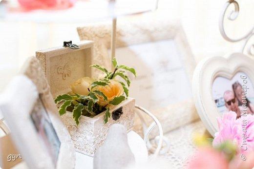 Небольшая гостевая зона, где можно увидеть фото молодоженов, свадебные фото их родителей, а также оставить хорошее напутствие ребятам в Книге Пожеланий. фото 4