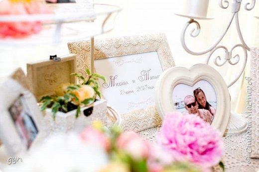 Небольшая гостевая зона, где можно увидеть фото молодоженов, свадебные фото их родителей, а также оставить хорошее напутствие ребятам в Книге Пожеланий. фото 5