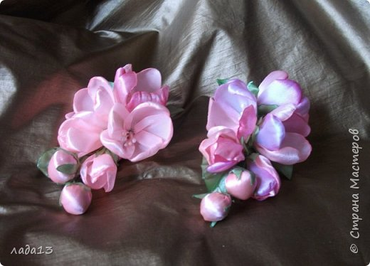 как говорят найдите отличие-розовая моя новая заколка.По моему похожа с настоящими цветами яблоньки. фото 3