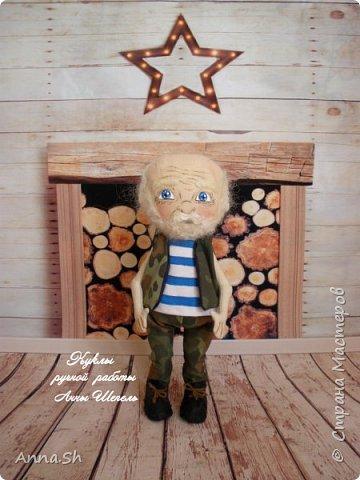 """Интерьерная кукла """"Дедушка военный, красивый здоровенный"""" фото 3"""