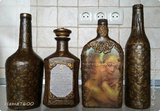 Доброго времени суток всем, кто зашел в гости. Выставляю на ваш суд свои бутылочки для святой воды. Как всегда вдохновение черпаю у мастериц этой  прекрасной страны. МК по изготовлению таких бутылочек можно найти очень много, поэтому ссылки не даю.  Применяла технику Татьяны Сорокиной пейп-арт http://stranamasterov.ru/node/308701?c=favorite , очень красивые бутылочки у Юли http://stranamasterov.ru/node/879753?c=favorite_a , они меня и вдохновили на работу.  фото 2