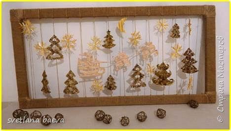"""Новогоднее панно в стиле Кантри. """"Дед мороз в пути""""  фото 12"""