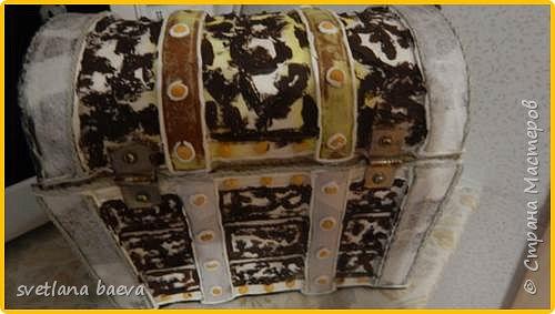 Многофункциональный предмет интерьера в морском стиле (светильник, часы, шкатулка) «Чёрная жемчужина», в технике пейп-арт. фото 15