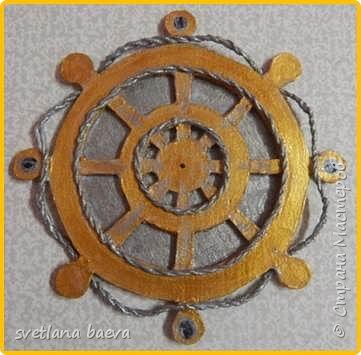 Многофункциональный предмет интерьера в морском стиле (светильник, часы, шкатулка) «Чёрная жемчужина», в технике пейп-арт. фото 3