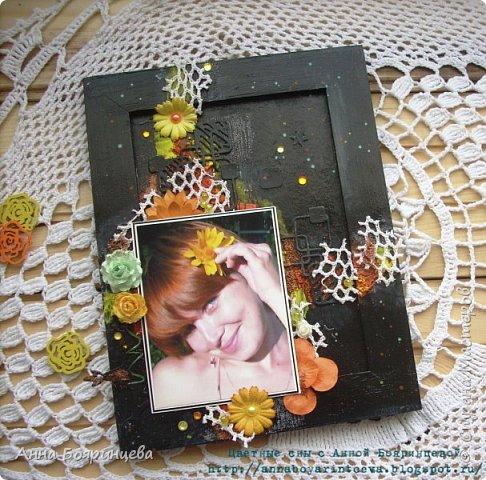 Всем привет!!!! Покажу сегодня рамочку для фото, делала ее на вебинаре С Евгенией Захаровой.  фото 1
