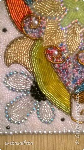 Наткнулась в интернете на работы Геллы Чары.Ее работа-абстракция вдохновила и меня.Взяла досочку.нарисовала,сама не знаю что и эту абстракцию выложила (клеила) бисером.Вот, что получилось. фото 2