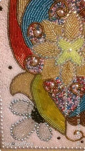 Наткнулась в интернете на работы Геллы Чары.Ее работа-абстракция вдохновила и меня.Взяла досочку.нарисовала,сама не знаю что и эту абстракцию выложила (клеила) бисером.Вот, что получилось. фото 4
