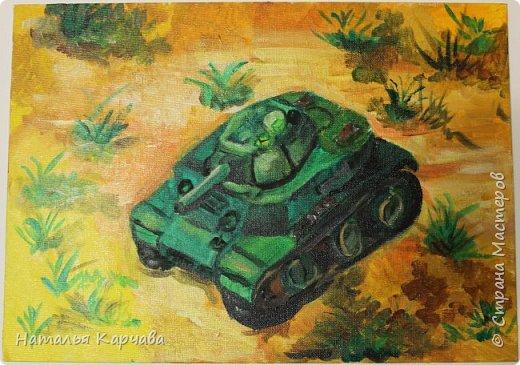 """Доброе утро, """"Страна мастеров""""! Наш сыночек закончил картину, над которой очень трудился. И я хотела бы показать её Вам.  Ему очень нравится боевая техника, особенно танки, знает множество моделей. И хочет в будущем конструировать новые модели танков. Работа выполнена акриловыми красками на холсте. Рисовал он на художественном кружке вЦДТ """"Радуга"""". фото 2"""