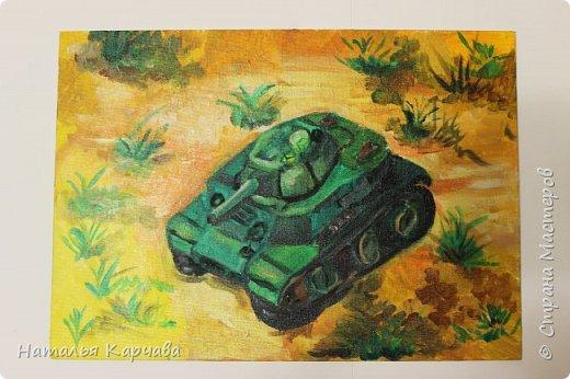 """Доброе утро, """"Страна мастеров""""! Наш сыночек закончил картину, над которой очень трудился. И я хотела бы показать её Вам.  Ему очень нравится боевая техника, особенно танки, знает множество моделей. И хочет в будущем конструировать новые модели танков. Работа выполнена акриловыми красками на холсте. Рисовал он на художественном кружке вЦДТ """"Радуга"""". фото 3"""