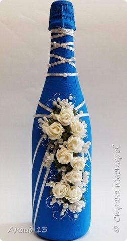 Бутылочка на День рождения. Все те же ленты и цветочки.