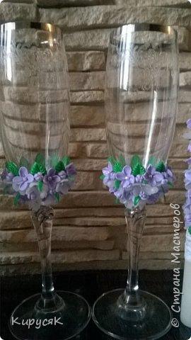 Сиренивая свадьба ! Набор из бутылок,бокалов,свечей ! фото 3