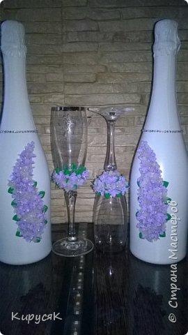 Сиренивая свадьба ! Набор из бутылок,бокалов,свечей ! фото 10