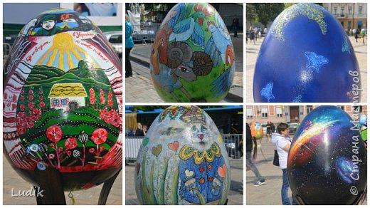 """Проходила у нас в Киеве выставка пасхальных яиц - """"374 художника"""" В основном это роспись красками, но были и другие техники использованы Это так они  располагались на площади Дальше немного детальных фотографий фото 5"""