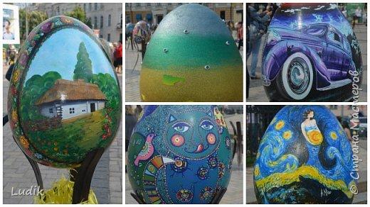 """Проходила у нас в Киеве выставка пасхальных яиц - """"374 художника"""" В основном это роспись красками, но были и другие техники использованы Это так они  располагались на площади Дальше немного детальных фотографий фото 6"""