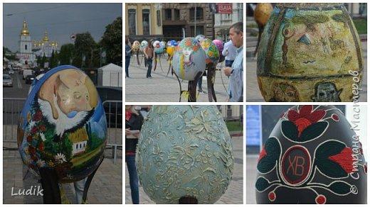 """Проходила у нас в Киеве выставка пасхальных яиц - """"374 художника"""" В основном это роспись красками, но были и другие техники использованы Это так они  располагались на площади Дальше немного детальных фотографий фото 8"""