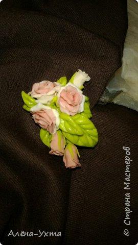 Веточка шиповника. Брошь. Сделала по фотографии осеннего шиповника из полимерной глины и фоамирана. фото 4