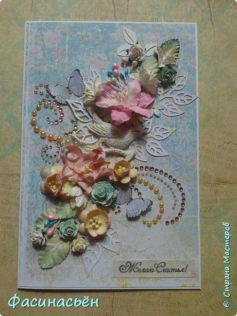 """Вот такая открытка сотворилась у меня.Лифтинг открытки самарской мастерицы Кристины Федотовой.В эту бумагу я просто влюбилась.Многие """"ругают"""" Арт Узор,а мне нравится)))  фото 2"""