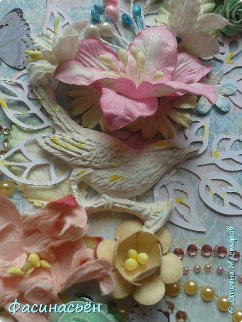 """Вот такая открытка сотворилась у меня.Лифтинг открытки самарской мастерицы Кристины Федотовой.В эту бумагу я просто влюбилась.Многие """"ругают"""" Арт Узор,а мне нравится)))  фото 4"""
