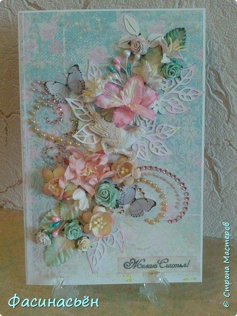 """Вот такая открытка сотворилась у меня.Лифтинг открытки самарской мастерицы Кристины Федотовой.В эту бумагу я просто влюбилась.Многие """"ругают"""" Арт Узор,а мне нравится)))  фото 1"""