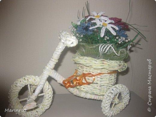 Этот велосипед плела из газетных трубочек. Подарила подруге на юбилей. фото 3