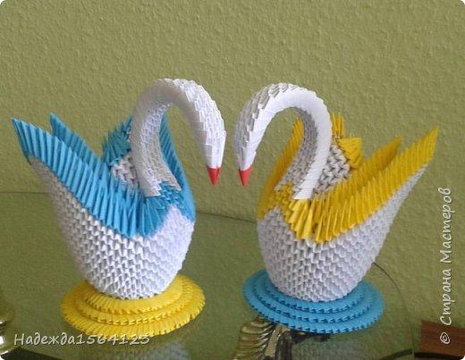 """""""Два лебедя"""" в технике """"модульное оригами"""". Идея и схема заимствована из интернета)"""