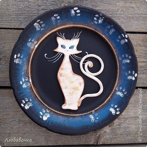 Первая тарелка моя любимая))  кошечка объемная из самоотвердевающей глины Фимо.  фото 1