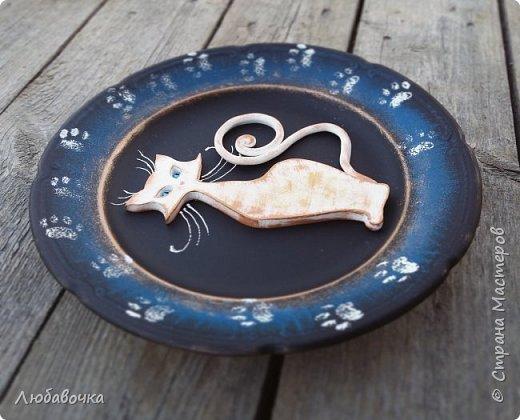 Первая тарелка моя любимая))  кошечка объемная из самоотвердевающей глины Фимо.  фото 2