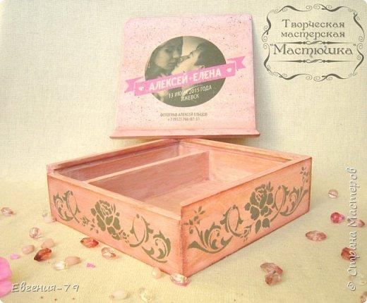 Шкатулочка-пенал сделана на заказ для фотографа, внутри 2 отделения для свадебных фотографий и для флешки фото 2