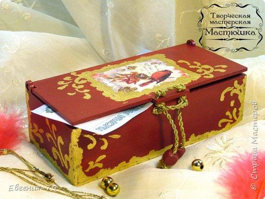 Шкатулочка-пенал сделана на заказ для фотографа, внутри 2 отделения для свадебных фотографий и для флешки фото 9