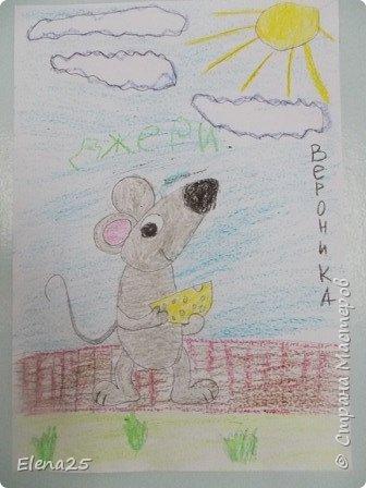 """""""Творческая мастерская"""" - Рисуем мелками """"Мышонок"""" (работы детей) фото 5"""