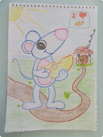 """""""Творческая мастерская"""" - Рисуем мелками """"Мышонок"""" (работы детей) фото 1"""