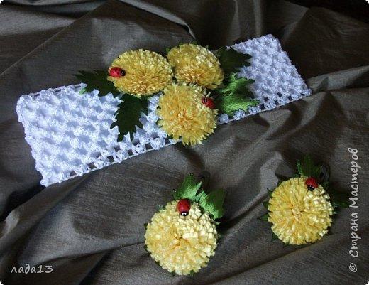 Благодаря замечательному мк      http://stranamasterov.ru/node/795526?c=favorite      и у меня есть набор из одуванчиков.Заколки. фото 4
