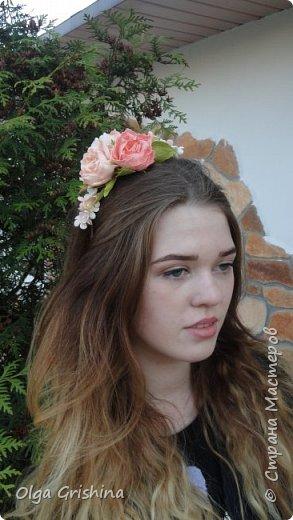 """ободок """"Зефирные розы"""" фото 2"""
