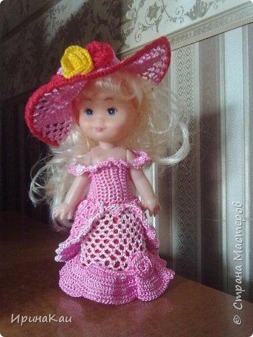 Маленькая хорошенькая куколка  Анни (12см ее высота) в подарок на день рождения моей маленькой хорошенькой внучке Анюточке. Шляпка, платье с корсажем - идем на бал фото 1