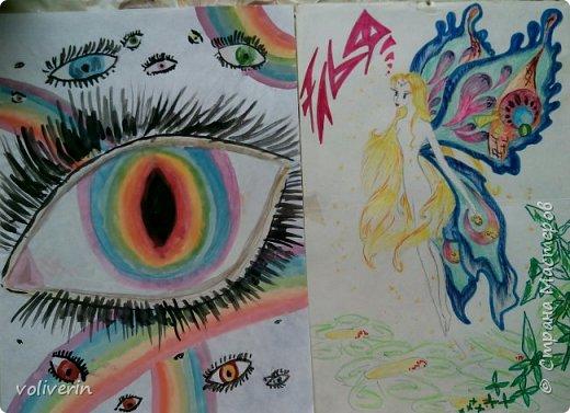 Я не претендую на звание художника, рисовала просто для себя, в свободное время. Большую часть картинок срисовывала, но кое-что и моя буйная фантазия. Рисунки у меня хранятся в папке, начиная с моих совсем детских альбомов, и до сегодняшнего дня. Их не много, но раз в год иногда в пол года, я туда подкладываю, новый листик))) Конечно сфотографировала, далеко не все, а своё любимое... фото 9