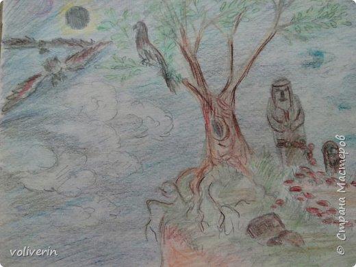 Я не претендую на звание художника, рисовала просто для себя, в свободное время. Большую часть картинок срисовывала, но кое-что и моя буйная фантазия. Рисунки у меня хранятся в папке, начиная с моих совсем детских альбомов, и до сегодняшнего дня. Их не много, но раз в год иногда в пол года, я туда подкладываю, новый листик))) Конечно сфотографировала, далеко не все, а своё любимое... фото 15