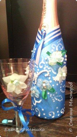 """Первый опыт оформления бутылок на свадьбу!Это бутылочка """"Жених""""! фото 1"""
