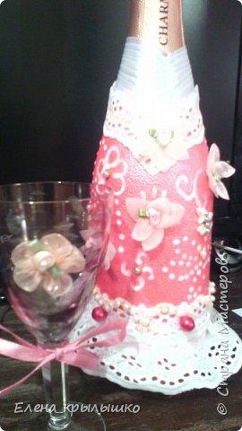 """Первый опыт оформления бутылок на свадьбу!Это бутылочка """"Жених""""! фото 2"""