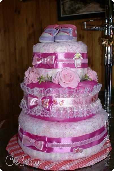 Торт из памперсов для новорожденной фото 3