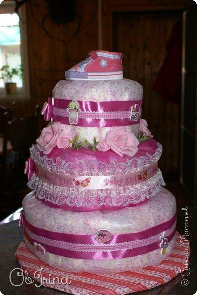 Торт из памперсов для новорожденной фото 4
