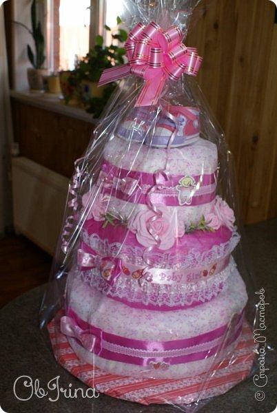 Торт из памперсов для новорожденной фото 6