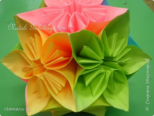 ВЕСЕННЯЯ  КУСУДАМА  или шарик-оригами фото 2
