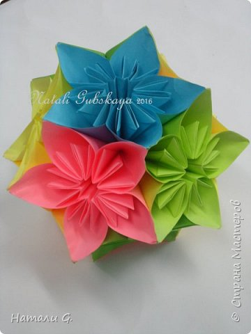 ВЕСЕННЯЯ  КУСУДАМА  или шарик-оригами фото 3