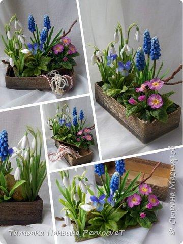 """Шкатулка-тайник """"Весенние цветы"""" . Выглядит как интерьерная цветочная композиция, а если поднять крышку, за специальные веточки, обнаружите удобный тайник. Цветы ручной работы, выполнены из флористических полимерных глин, а сама шкатулка из дерева с элементами декора. Все цветы надежно закреплены. Для удобства и сохранности композиции, предусмотрены специальные веточки, с помощью которых, Вы сможете поднимать крышку шкатулки.  Нежные и яркие вестники весны. Отблески теплого солнца и весеннего неба, в яркой зелени травы. Ноты мелодии радости пробуждения природы и самых нежных чувств. фото 1"""
